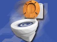 O giro da água da descarga na bacia sanitária nos diferentes hemisférios da Terra.