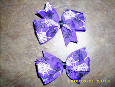 Purple Halloween Spiderweb bows