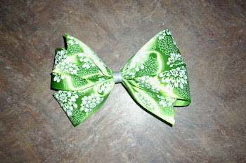 Lime Green and White Large bow