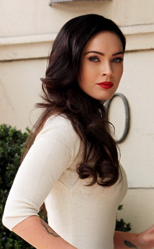 megan fox hair up. megan fox lips before.