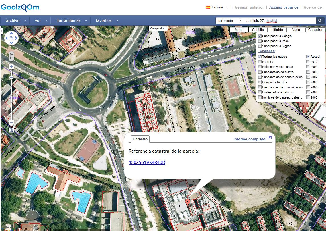 Goolzoom google maps catastro sigpac share the knownledge for Oficina virutal catastro
