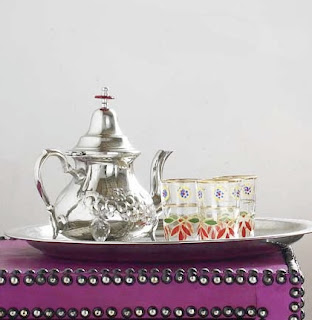 Graham and green moroccan teapots, glasses, silver tea tray, silver teapot,