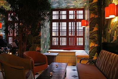 indochine restaurant nyc, banana leaf wallpaper,Catherine Deneuve