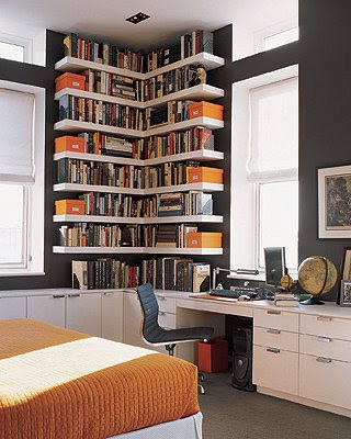 Custom bookshelves - library, interior design, home interior