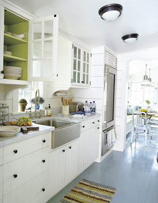 Painted kitchen floors: Pratt & Lambert gray + white