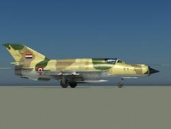 الطئرة المقاتلة ميج 21 التى أسقط بها البطل المصرى / سمير عزيز طائرتين إسرائيليتين من طراز ميراج 3