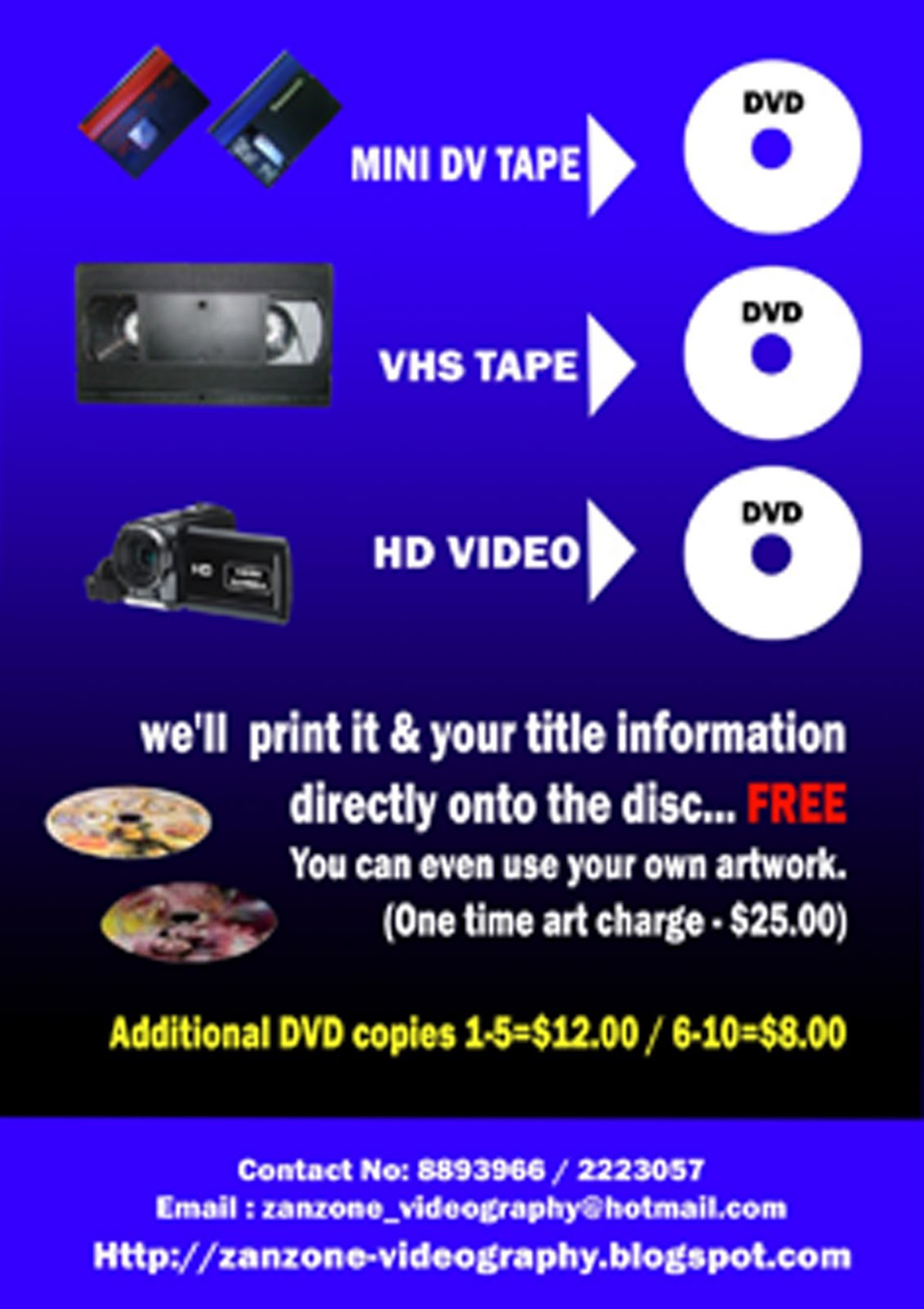 Transfer MINI DV, VHS TAPE, HD Video to DVD
