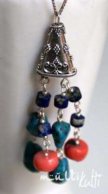 wisiorek ze srebra turkusów, korali, lapis lazuli
