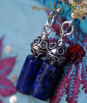 kolczyki etno lapis lazuli srebro