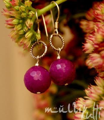 kolczyki jadeit fiolet