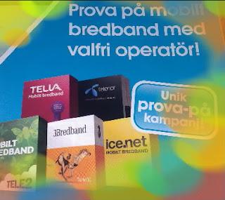 prova på mobilt bredband