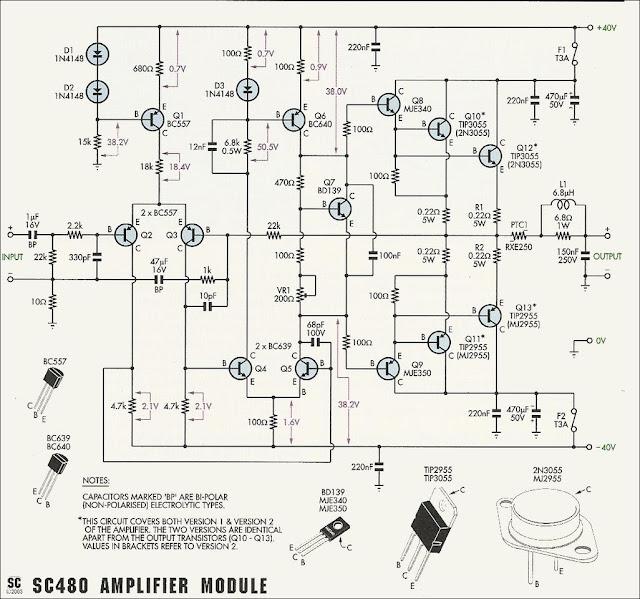 ro electronica  schema amplificator audio cu 2n3055 sau tip3055