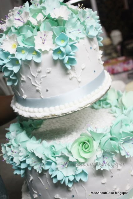 Turquoise 2 tier Wedding cake Lufty style