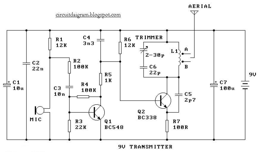 Circuit Diagram Of Radio Transmitter | Circuit Diagram 9v Fm Radio Transmitter Circuit Diagram