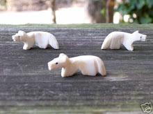 Hand carved wolves