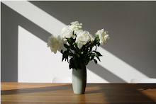 Vase of white peonies