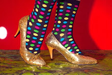 Vintage gold shoes with polka dotted socks