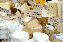 Continental cheeses on market stall in Broadway Market