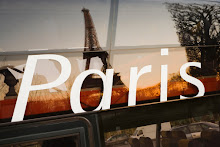 France, Paris, Eiffel Tower reflected in bus window at sunset