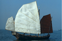 Stern &amp; side view of traditional genuine old local sailing junk in the late 1970s in Victoria Harbo