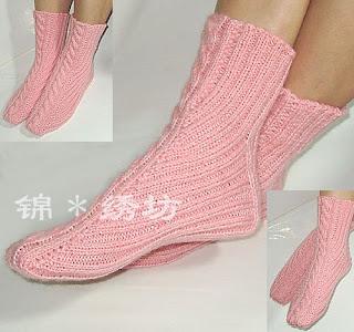 вязание носков на 2 спицах.
