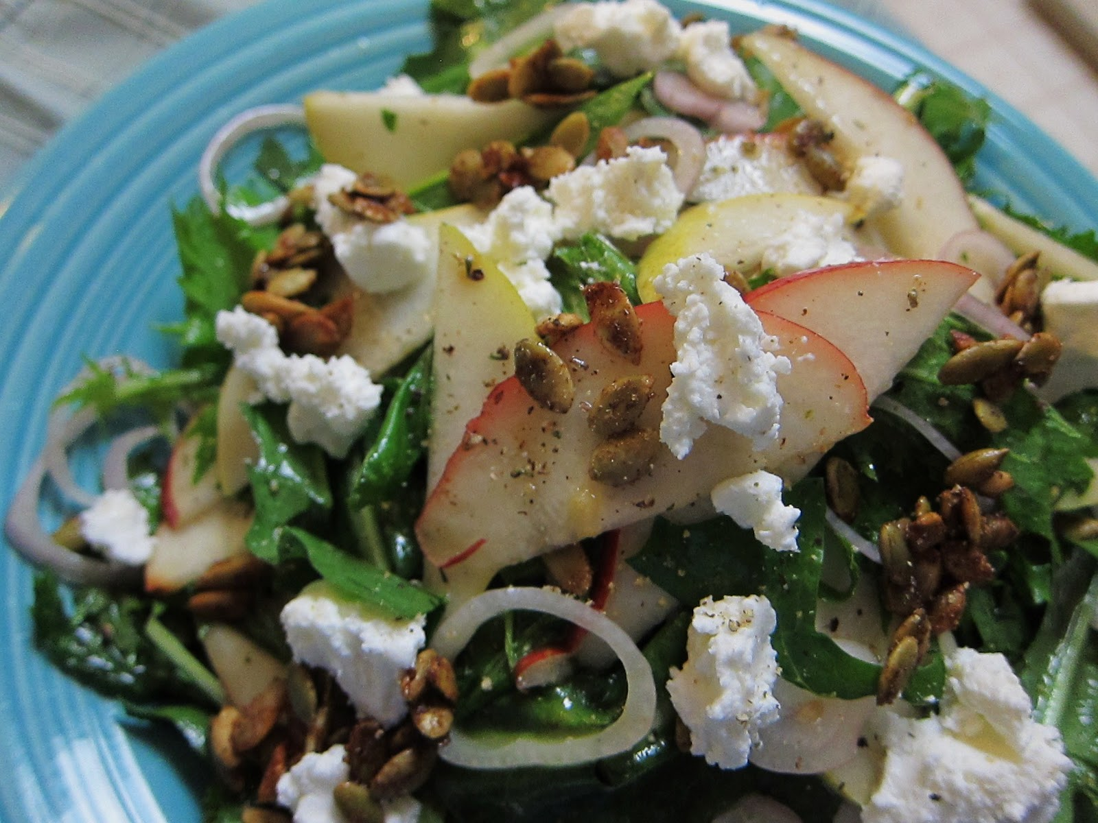 Garlic and Sea Salt: October Pear and Spiced Pepita Salad with Chevre
