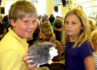 Ralph the hedgehog with Sam Naujokas and Zoe Fish-O'Brien at Copperfield's in Healdsburg