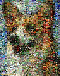 corgi portrait made out of beer cans
