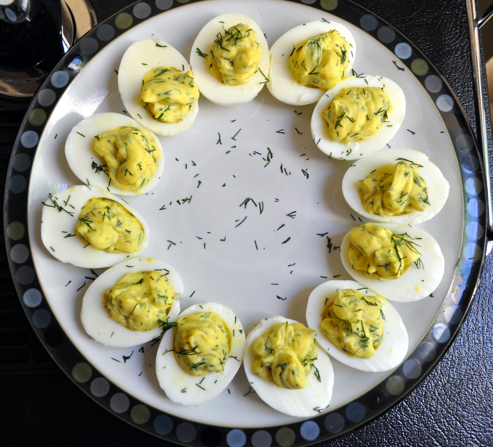... the egg yolk mixture into the halved eggs serve garnished with dill
