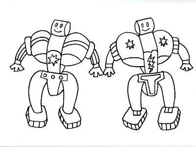 Dibujos gratis para imprimir y colorear de robots - Ilusiones opticas para imprimir ...