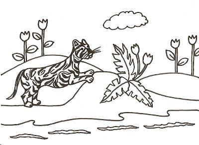 Dibujo gratis para imprimir y colorear de tigres