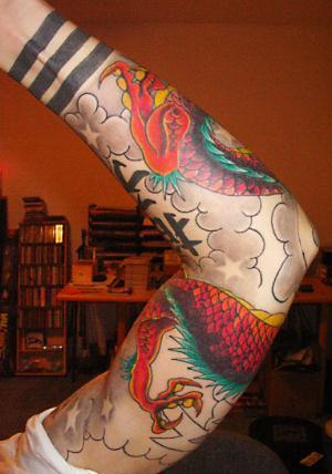 Tribal arm tattoos. Chinese Sleeve Dragon Tattoo