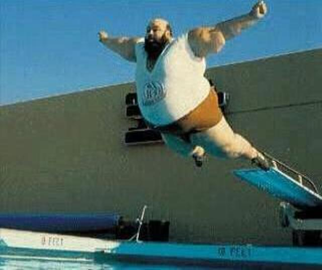 Fat guy belly flop
