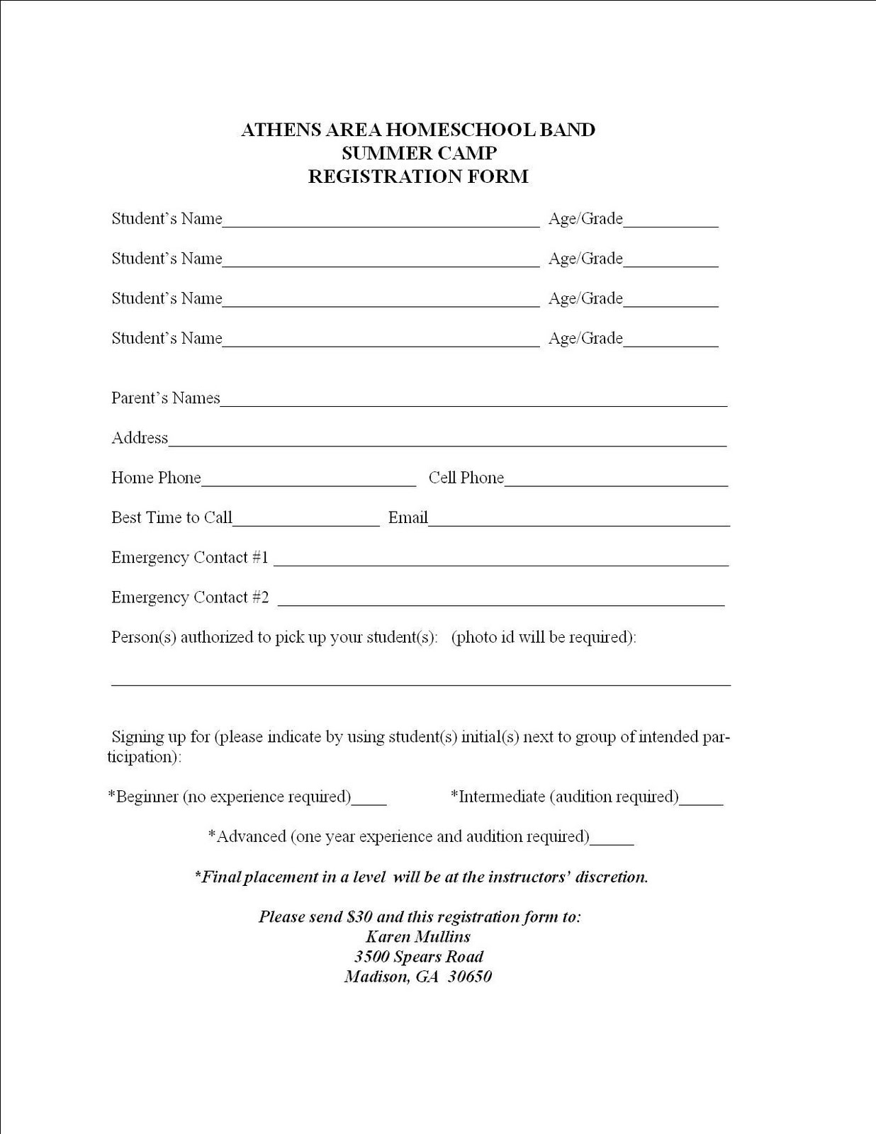 Summer c registration form