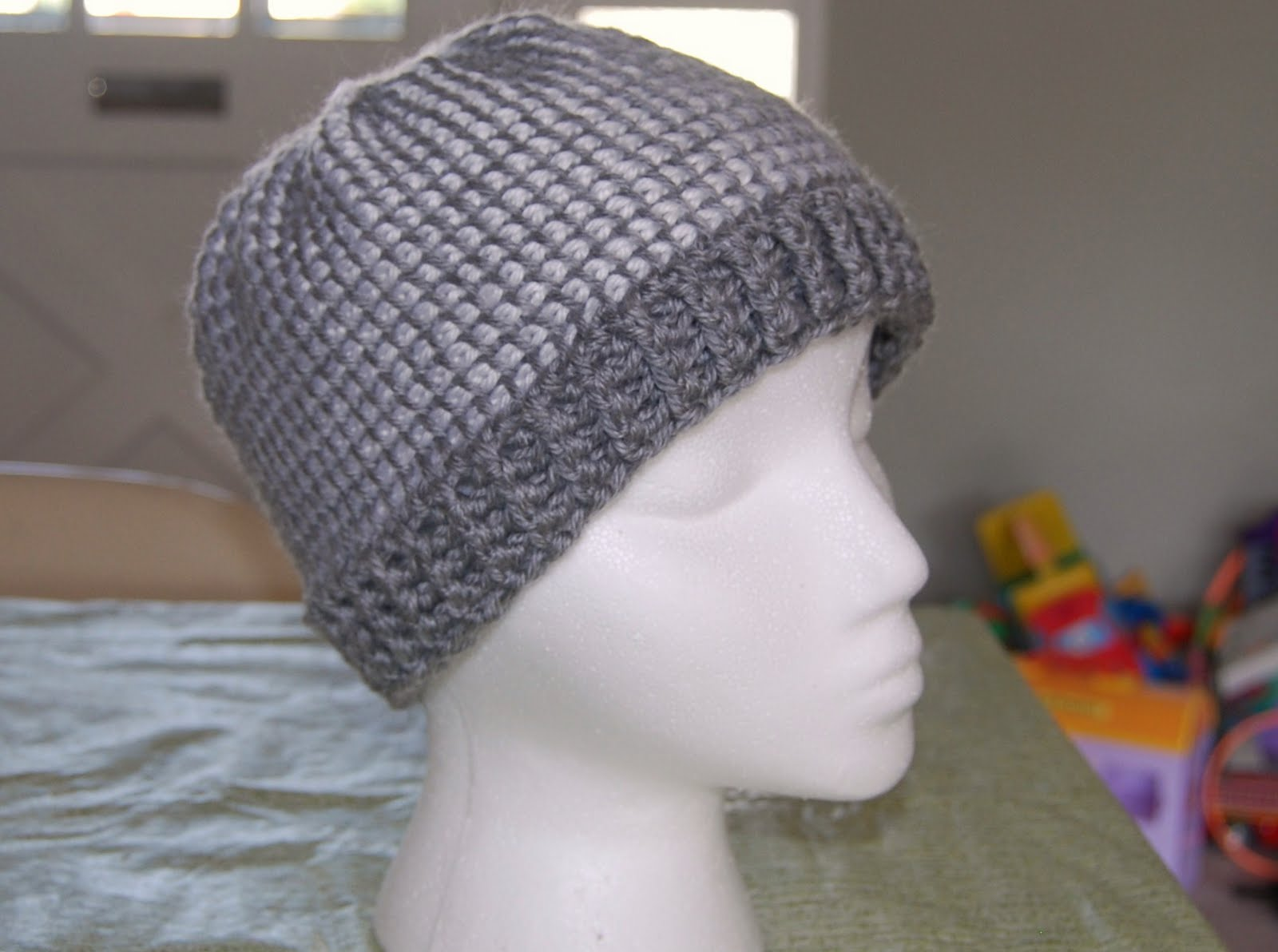 Tunisian Knit Stitch In The Round : The Laughing Willow: Ribbed Brim Tunisian Hat
