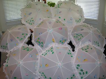 white wedding parasols