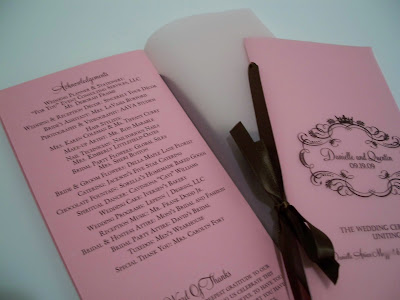 Candy Pink Chocolate Brown Wedding Programs