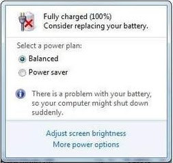 windows 7, laptop battery indicating