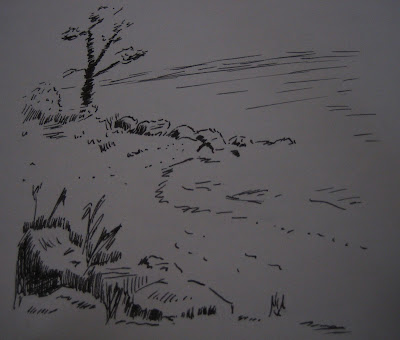 Ink drawing landscape