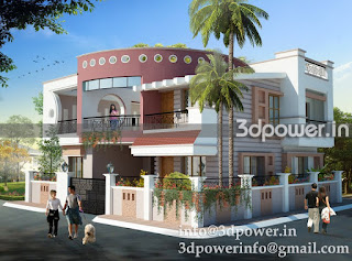"""exterior rendering bungalow with a modern elevation"""