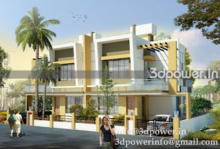 """3d exterior modeling of twin bungalow"""