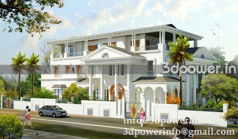 , 3d interior, cut section, photomontage india: | 3D Bungalow