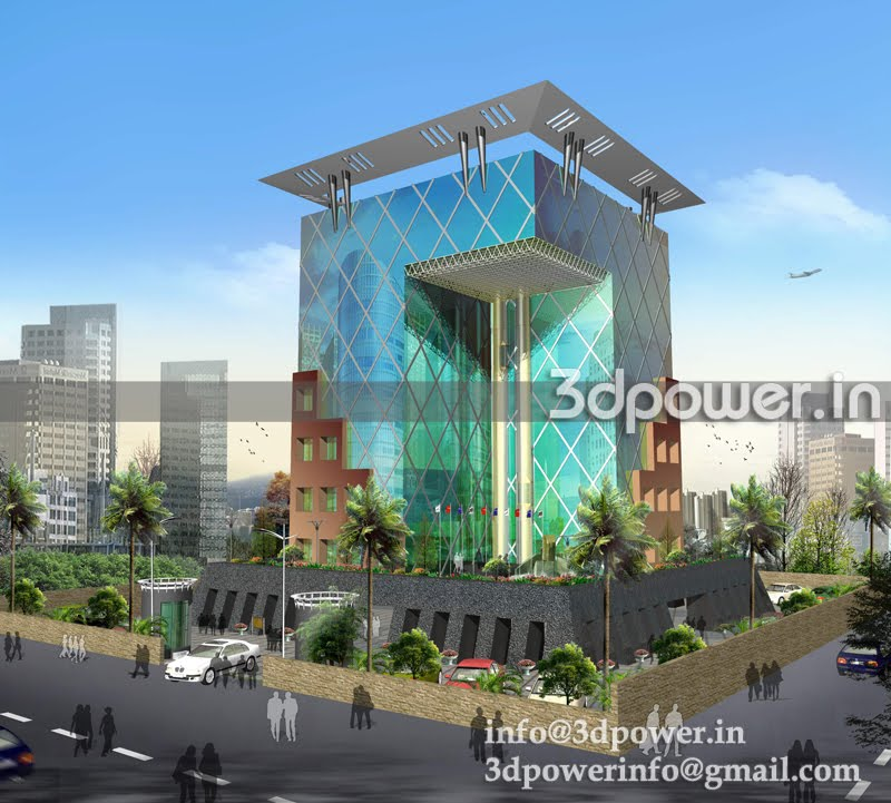 ... 3d+rendering+and+3d+modeling+india_office+building_IT+building+india
