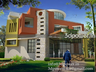 3d modeling rendering bungalow, elevation of bungalow