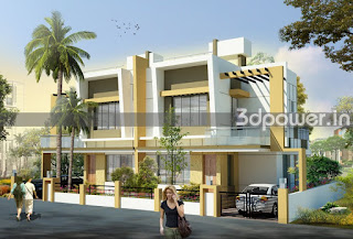 3d rendering of twin bungalow""