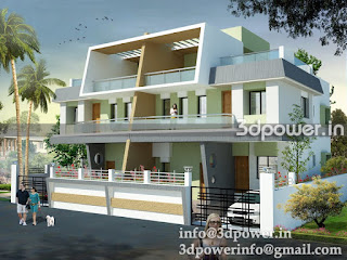 3d rendering twin bungalow""