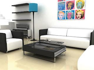 mobilier living alb/negru modern