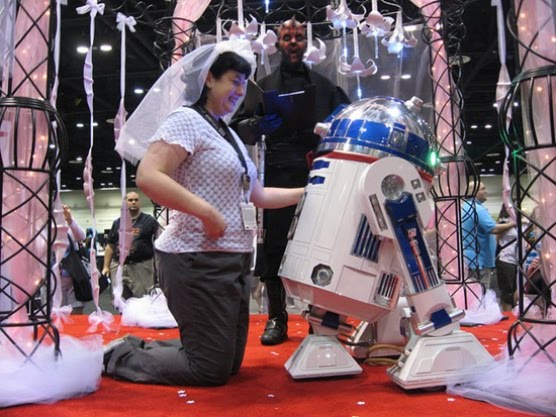 nerd girl married with robot