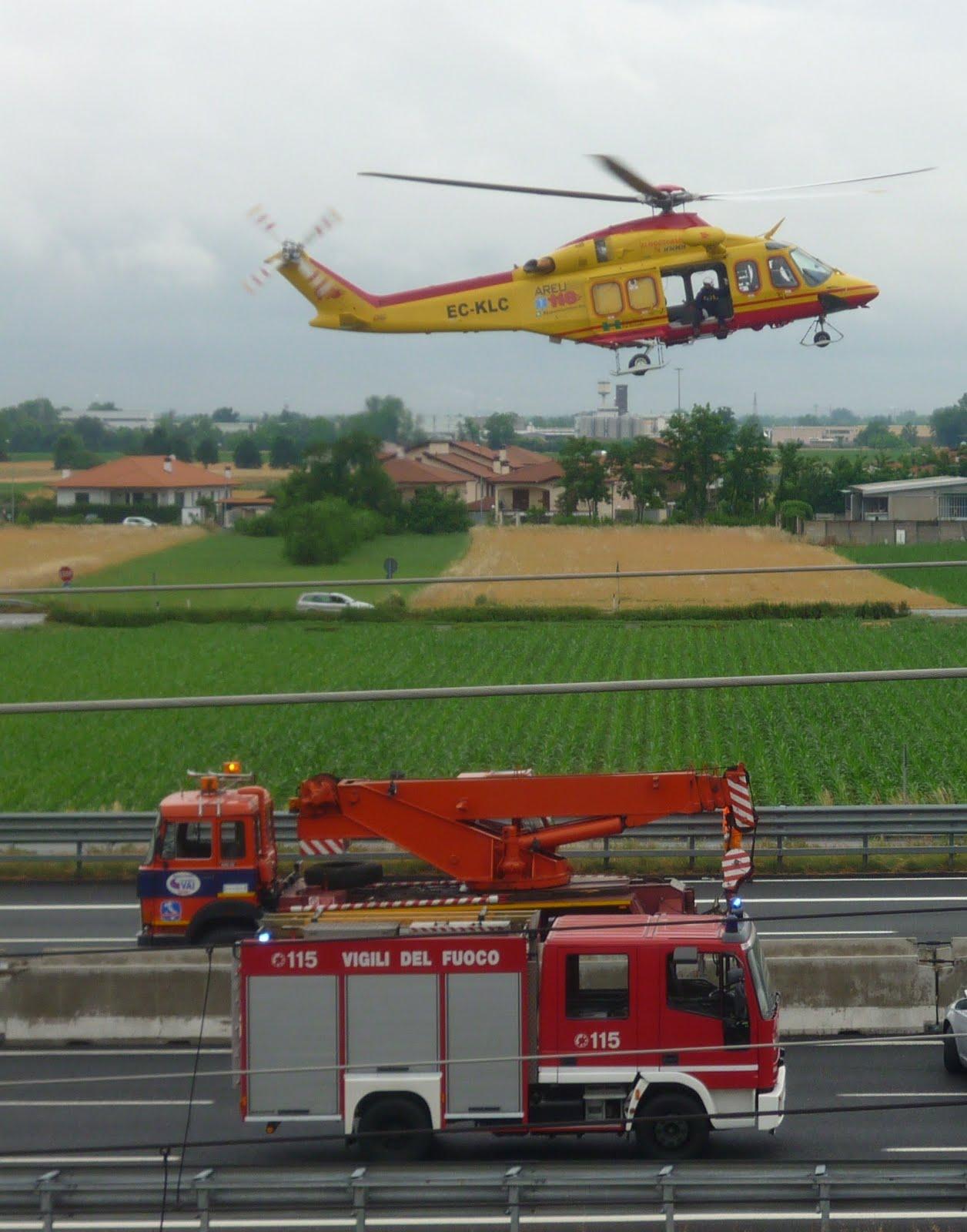 Elicottero Niguarda : Naviglioparlante marcallo con casone incidente in a tre