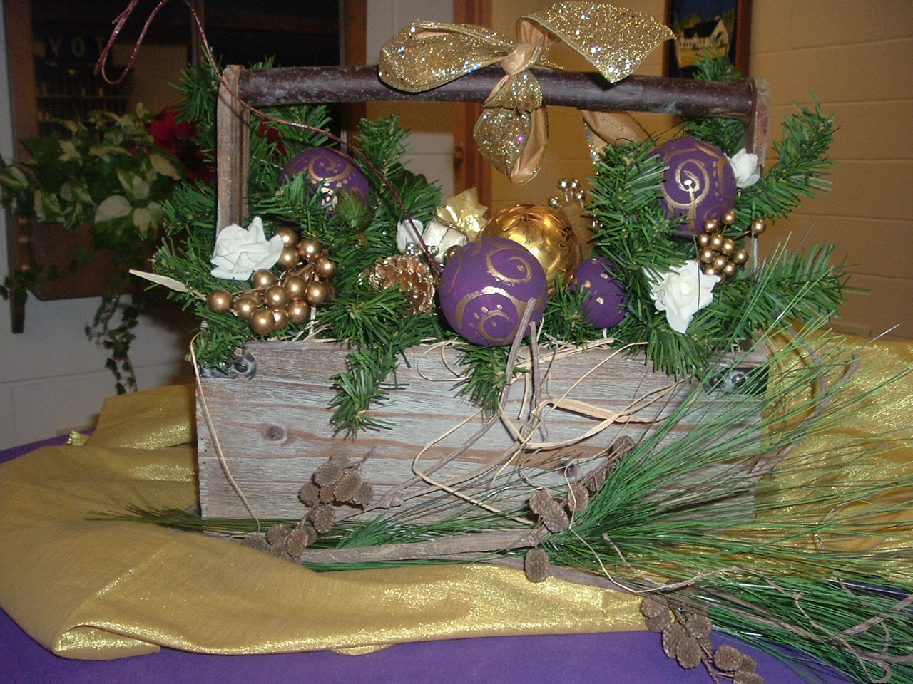 Christmas arrangement for table in church foyer.